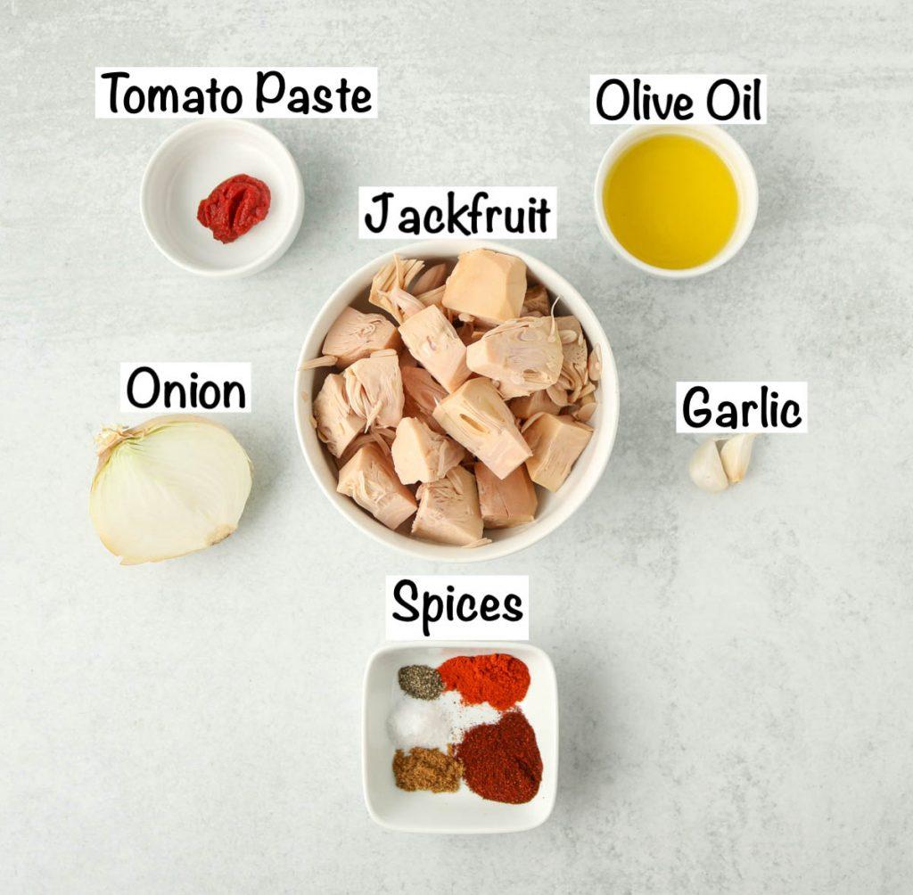 Labeled ingredients for jackfruit tacos.