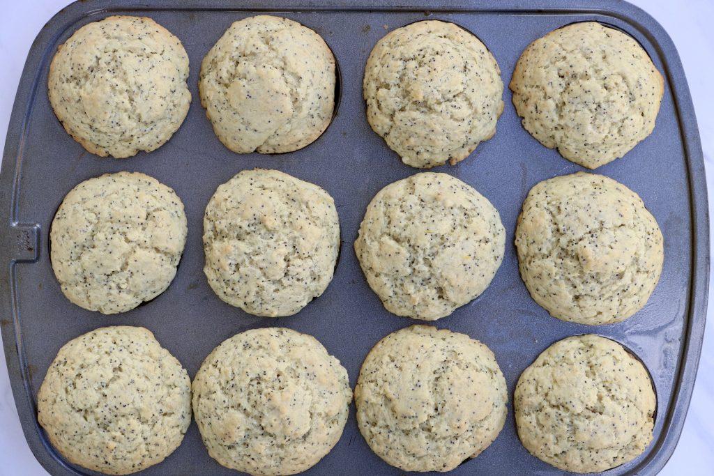 Pan full of Vegan Lemon Poppy Seed Muffins