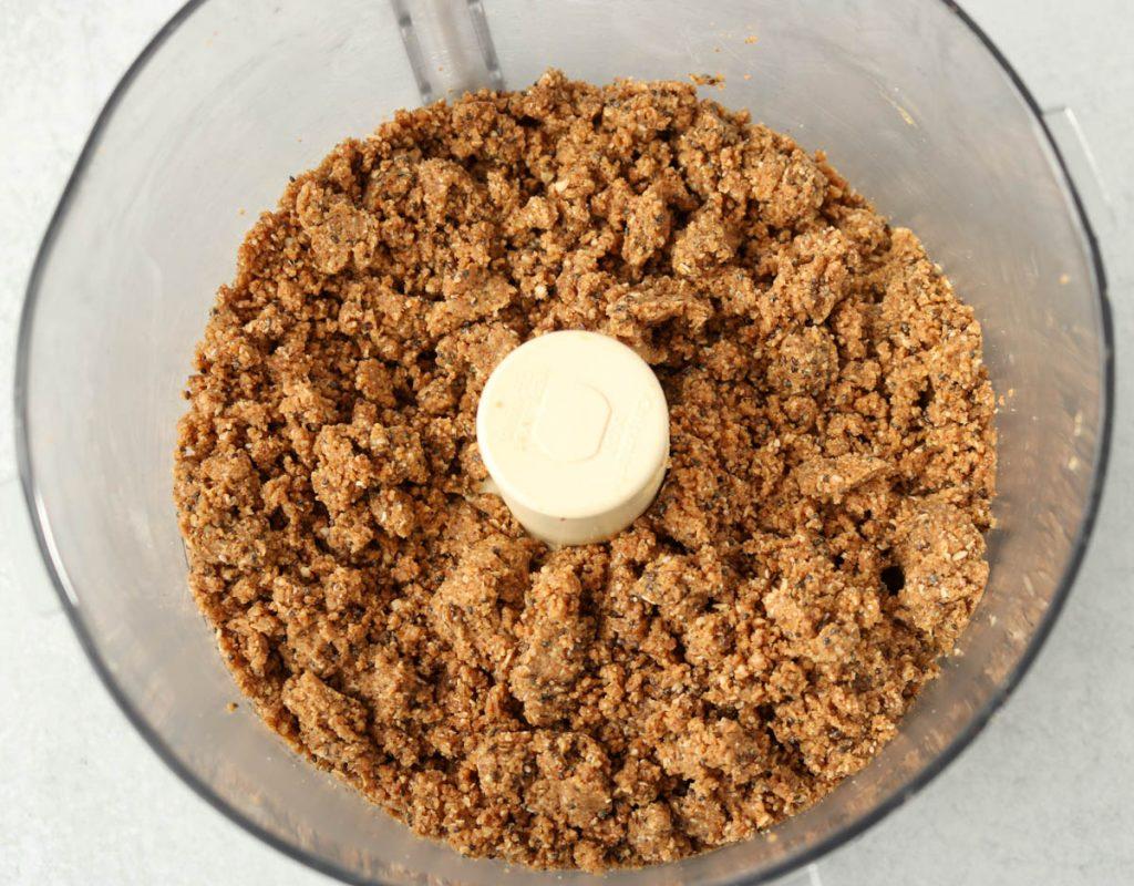 Processed mixture in food processor.