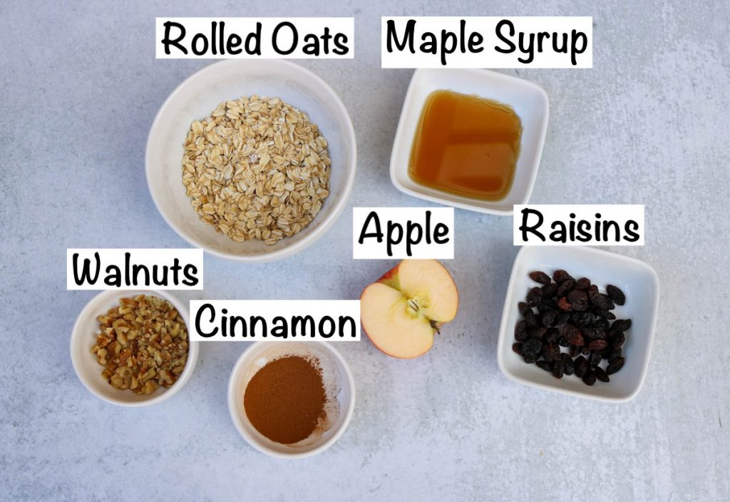 Labeled ingredients for oatmeal.