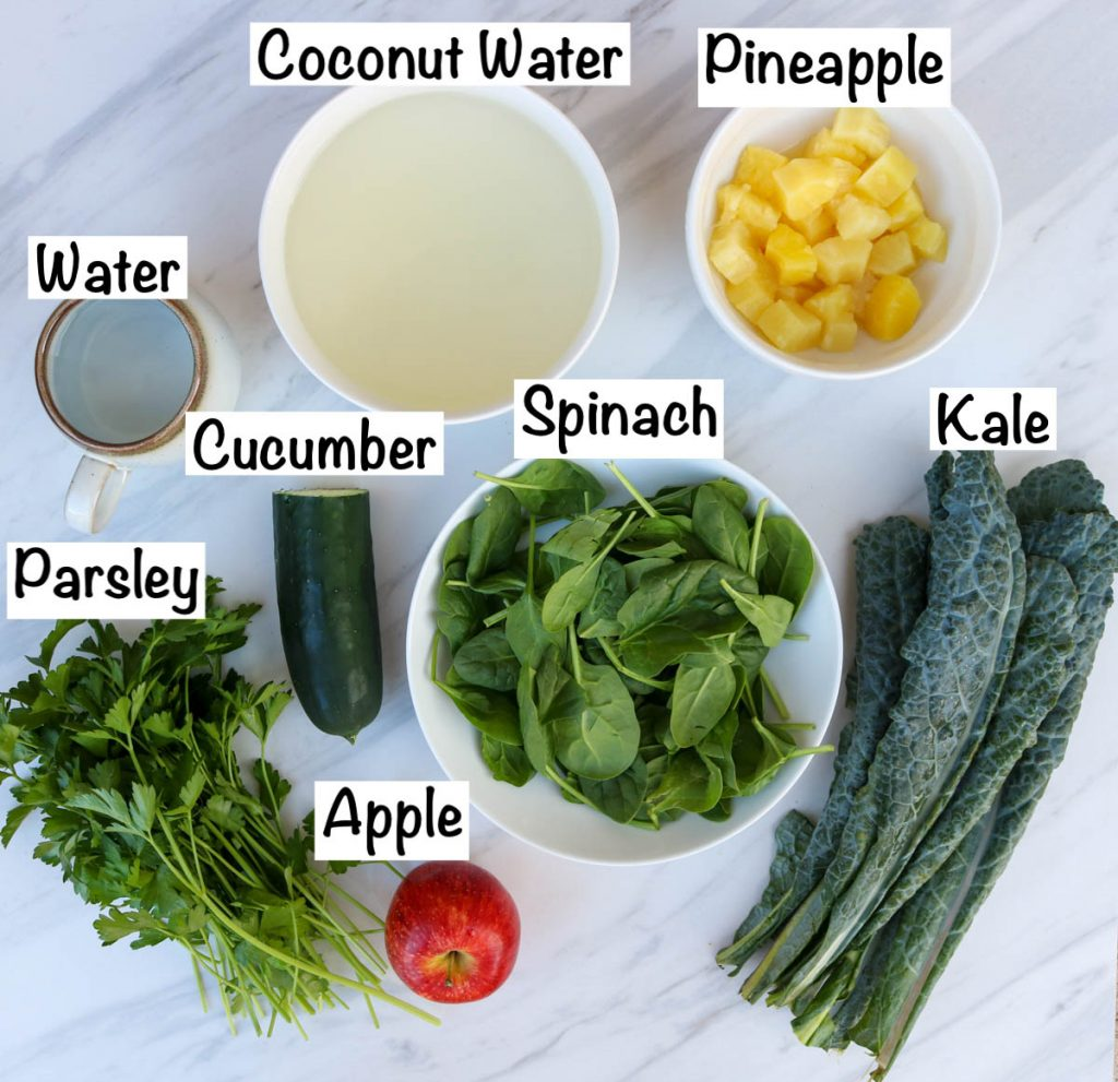 Labeled ingredients for juice.