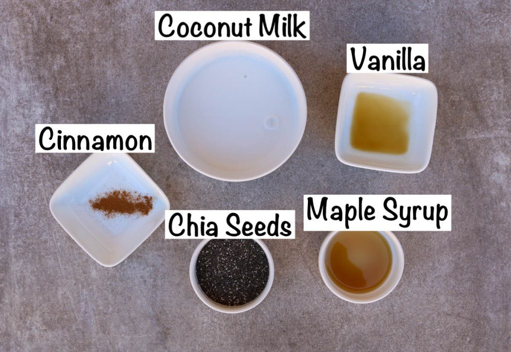Ingredients for chia pudding.