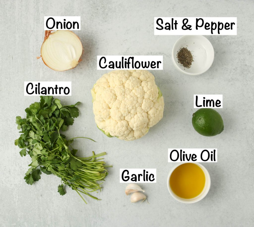 Labeled ingredients for Copycat Chipotle Cauliflower Rice