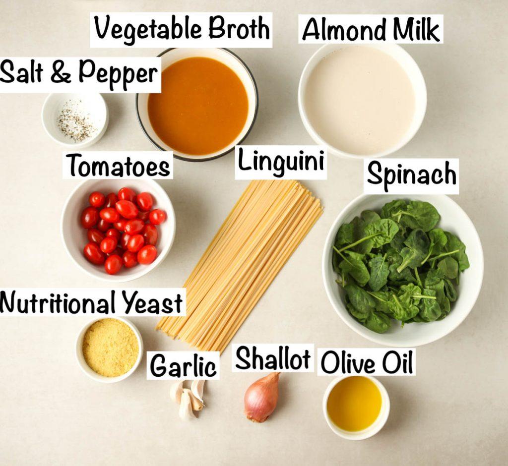 Labeled ingredients for one pot vegan pasta recipe.