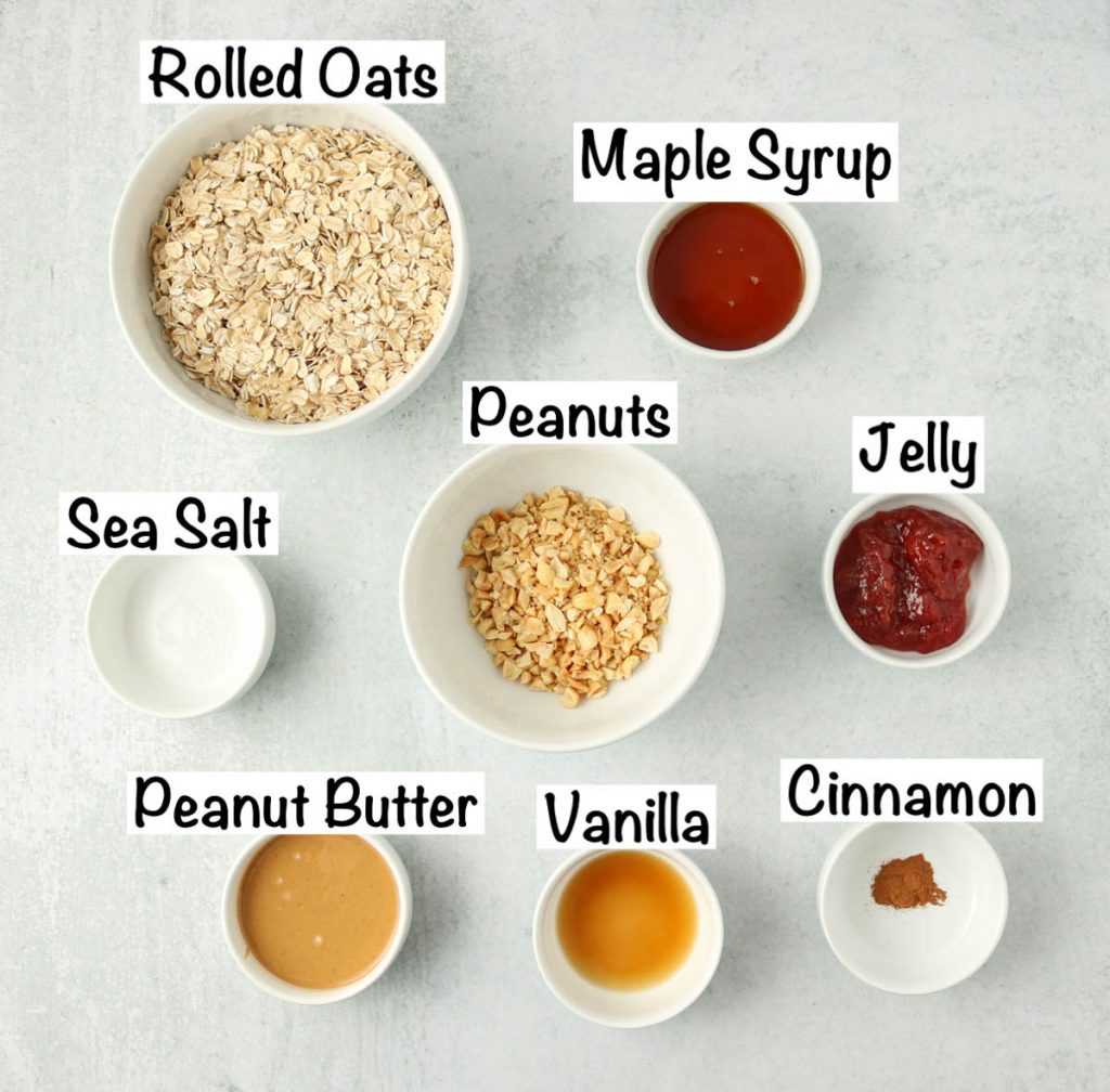 Labeled ingredients for oil free granola.