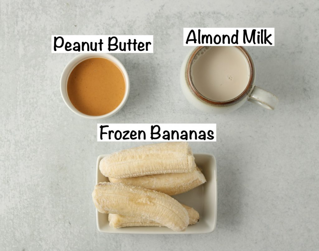 Labeled ingredients for Peanut Butter Banana Smoothie.