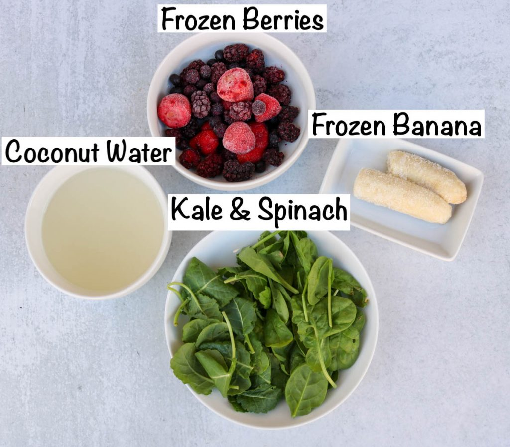 Labeled ingredients for smoothie.
