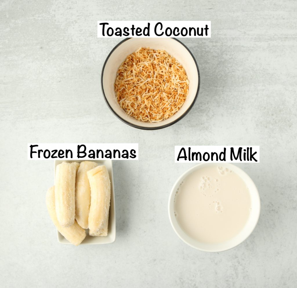 Labeled ingredients for coconut smoothie recipe.