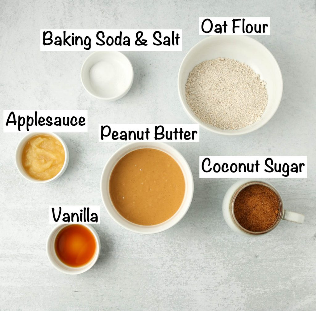 Labeled ingredients for vegan gluten free peanut butter cookies.