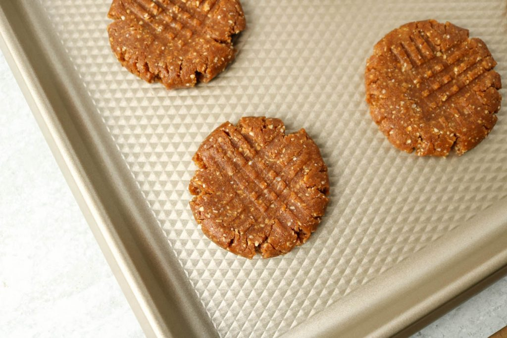 Close up, uncooked cookie showing criss cross marks from fork.