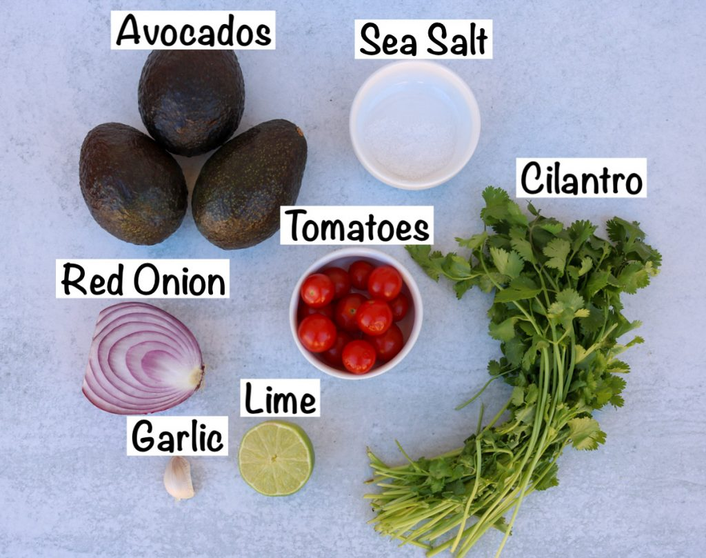 Labeled ingredients for vegan guacamole.