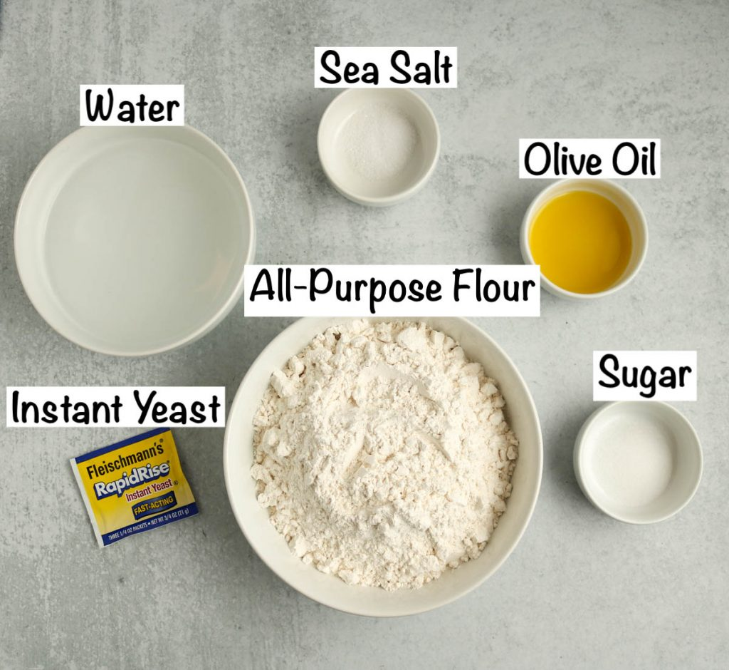 Labeled ingredients for dough.