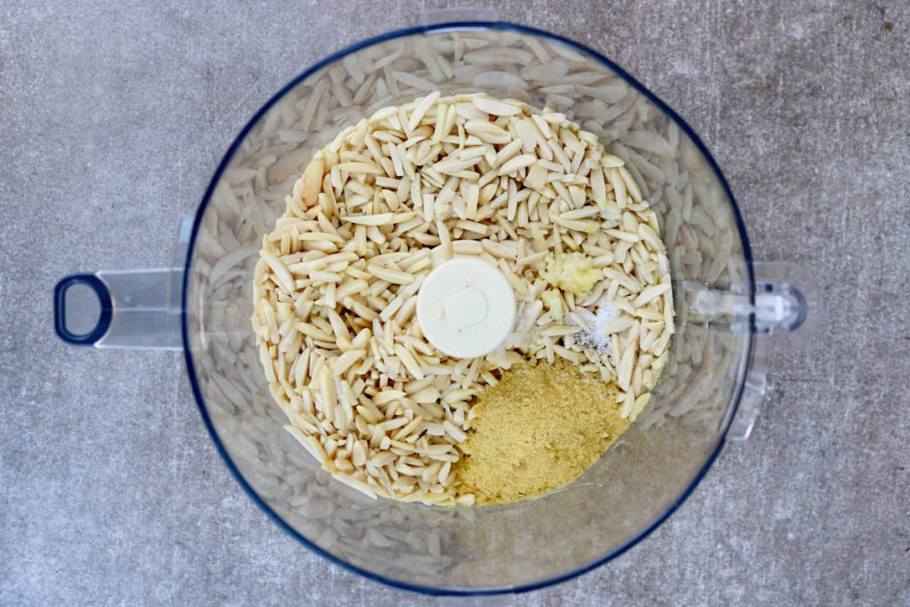 Ingredients in food processor unprocessed.