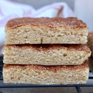 Closeup, three snickerdoodle bars stacked on top of each other.