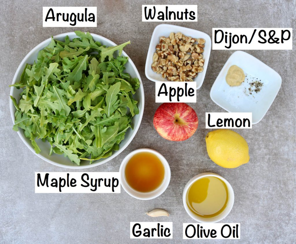 Labeled ingredients for salad.
