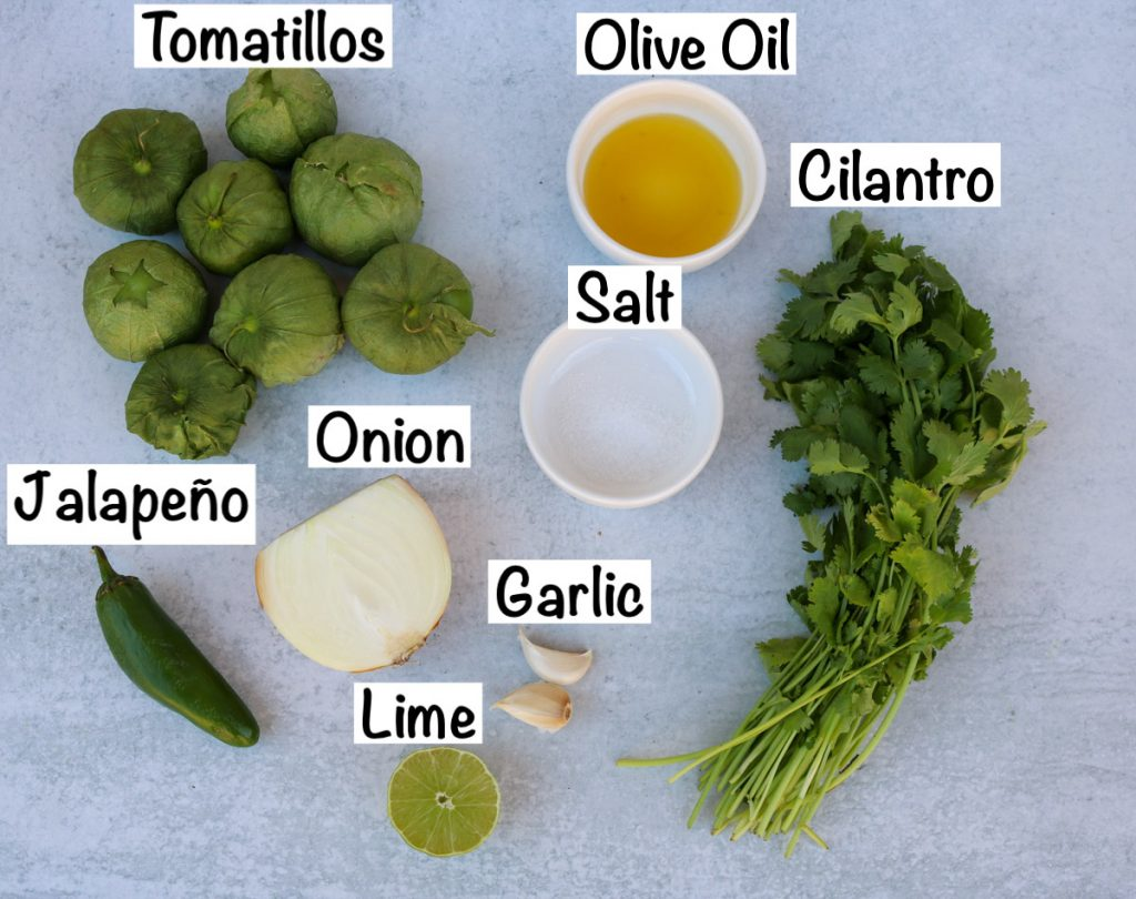 Labeled ingredients for salsa.