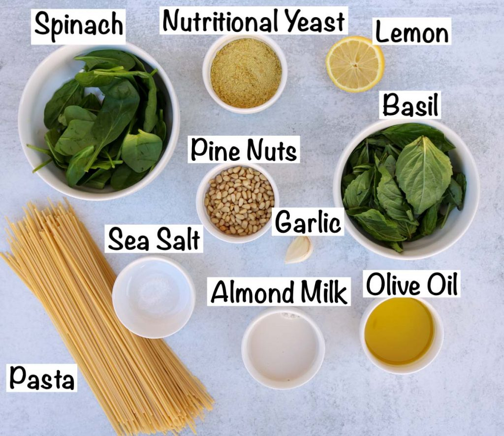 Labeled ingredients for pasta.