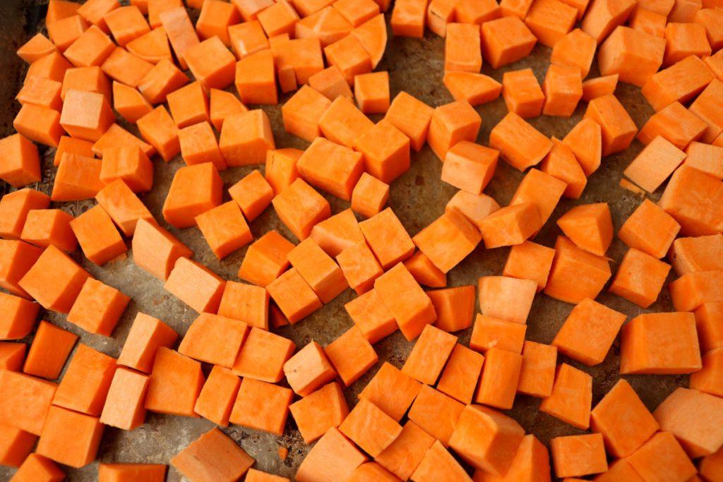 Diced sweet potatoes.
