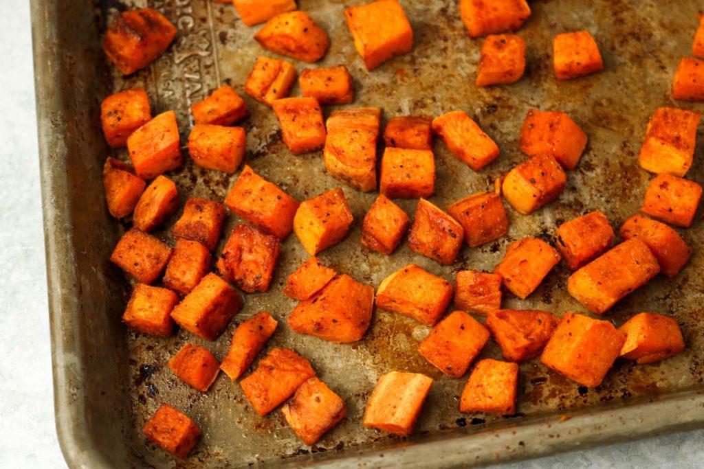 Finished roasted sweet potatoes.