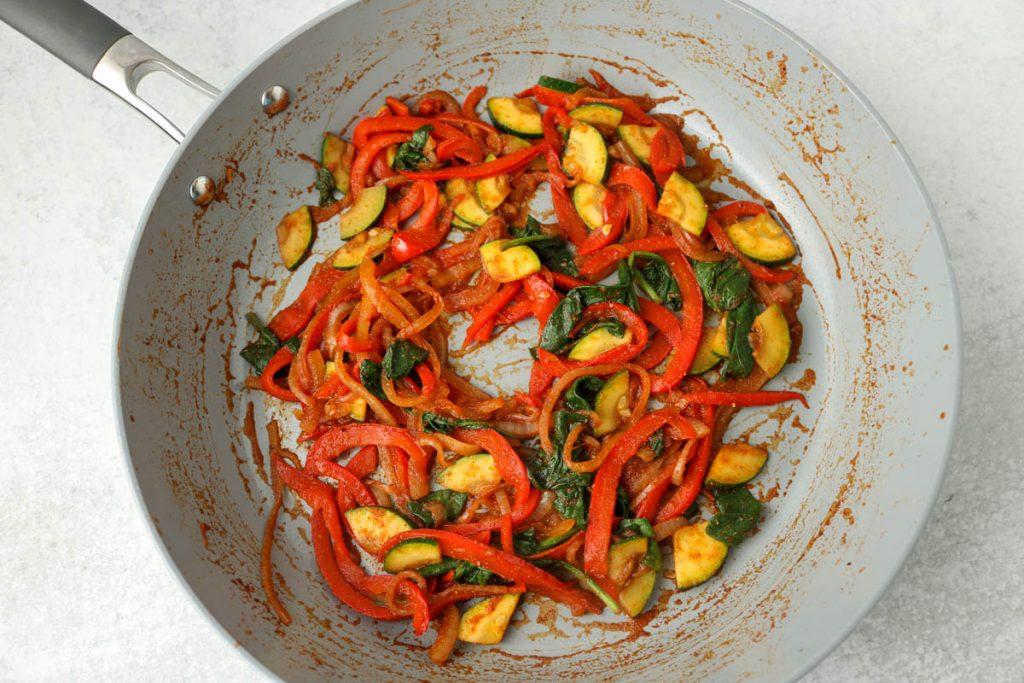 Cookies veggies in pan.