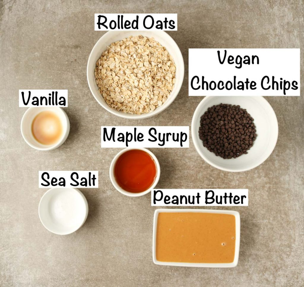 Labeled ingredients for easy peanut butter balls.