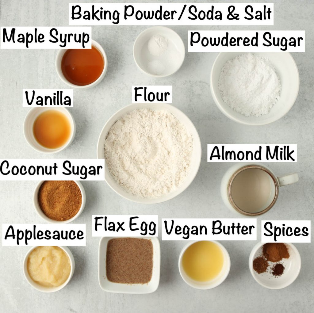 Labeled ingredients for your baked vegan donuts.