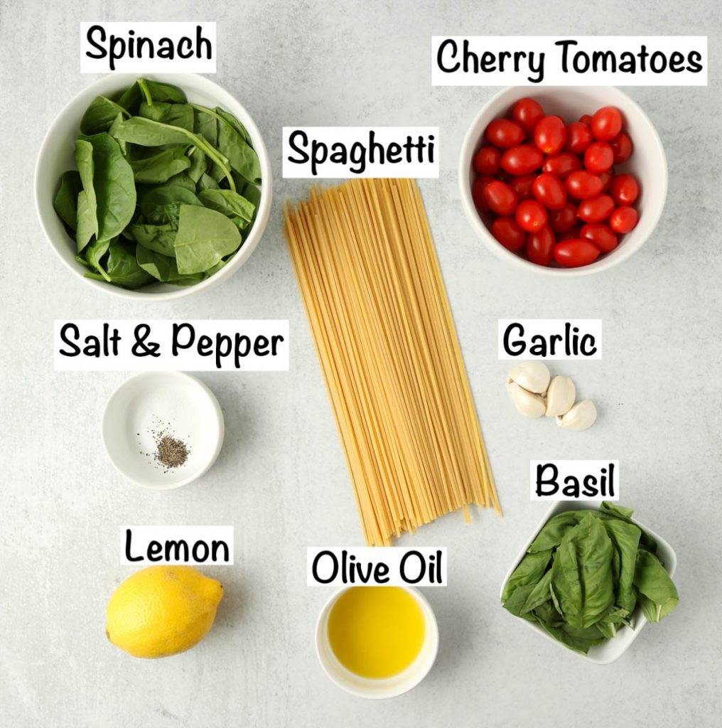Labeled ingredients for Roasted Tomato Basil Pasta.