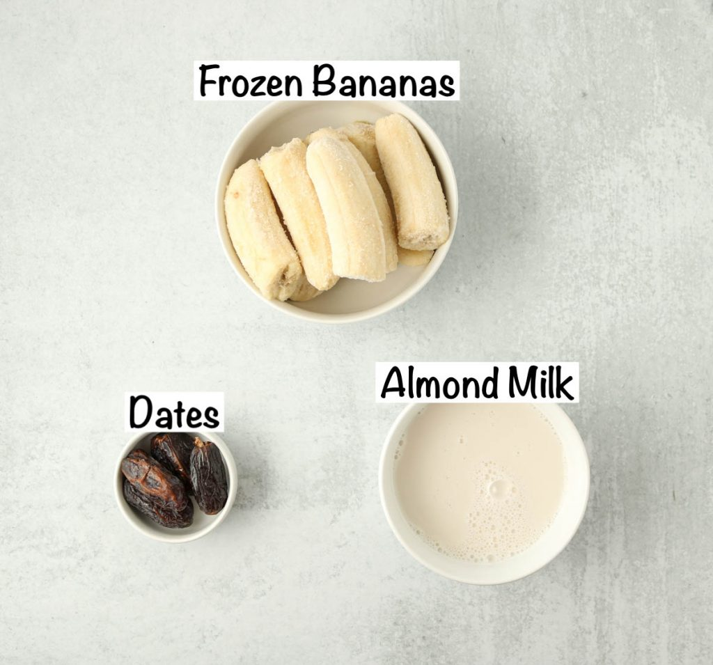 Labeled ingredients for Banana Date Smoothie.