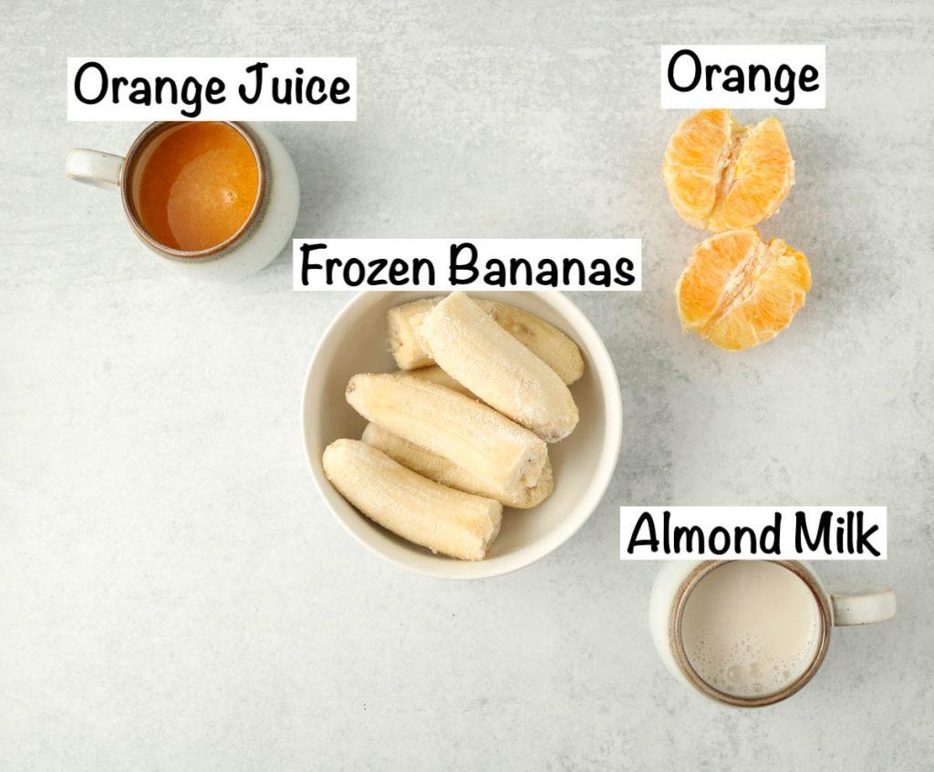 Labeled ingredients for Banana Orange Smoothie.