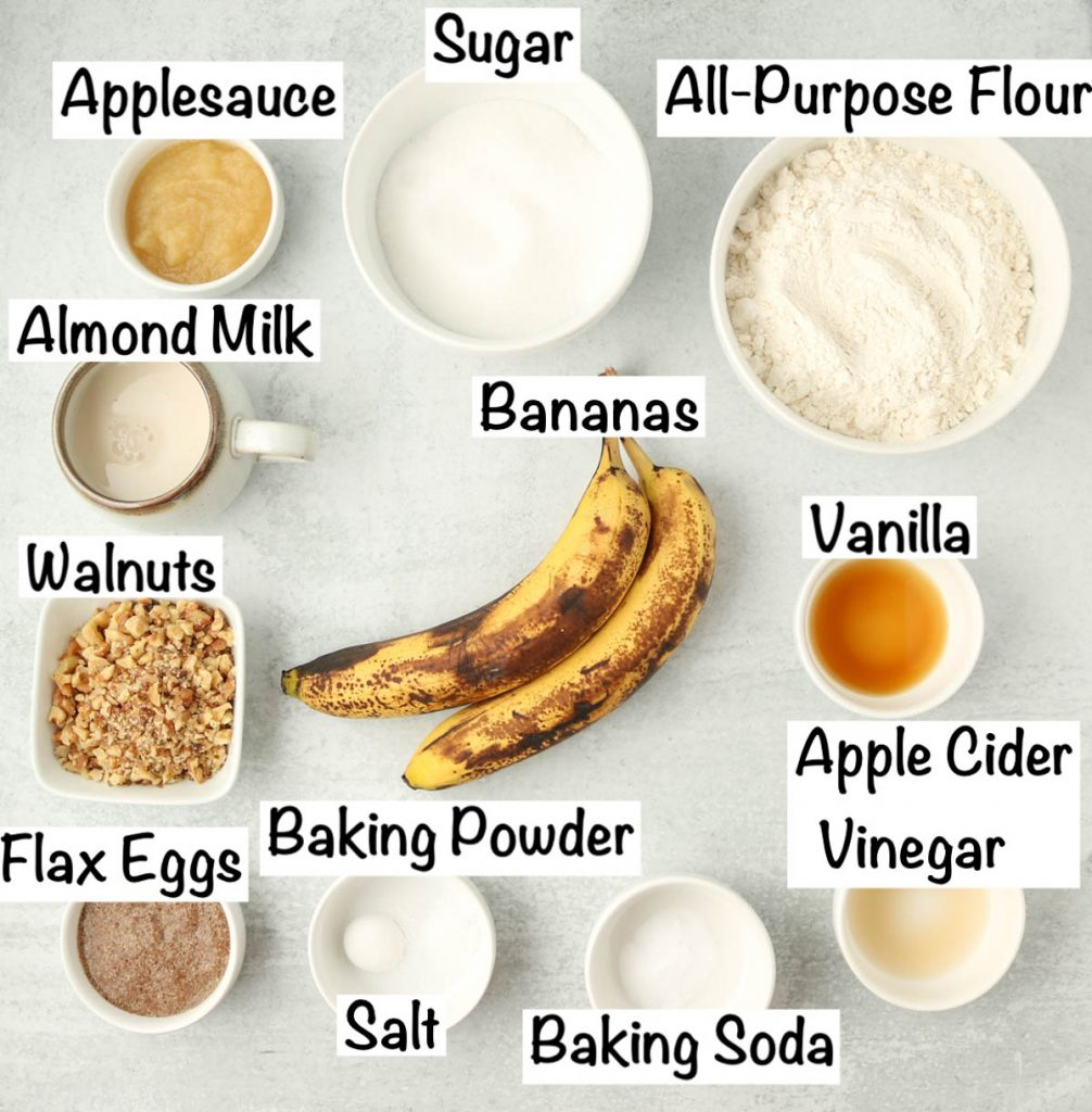 Labeled ingredients for Best Vegan Banana Bread.