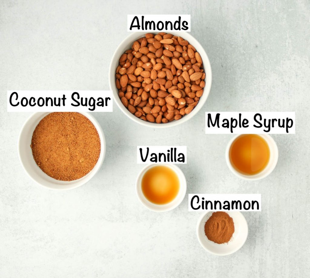 Labeled ingredients for cinnamon almonds.