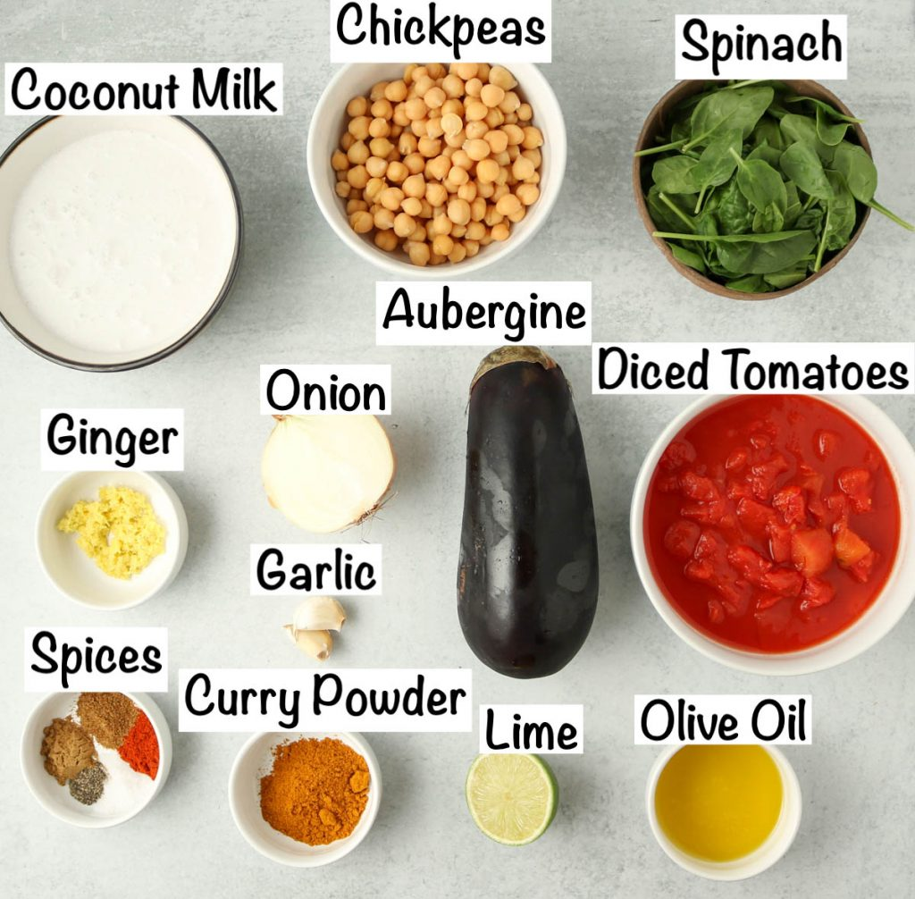 Labeled ingredients for Chickpea and Aubergine Curry.