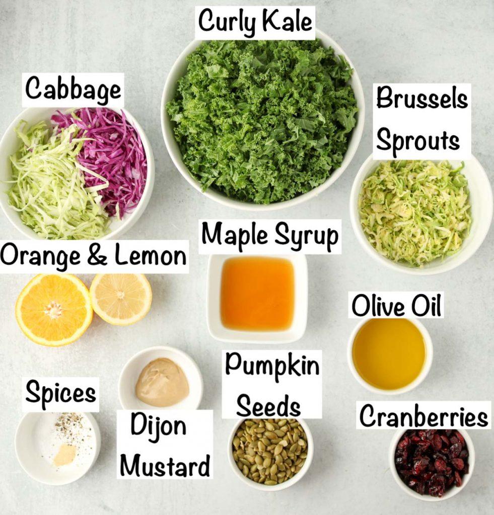 Labeled ingredients for sweet kale salad.