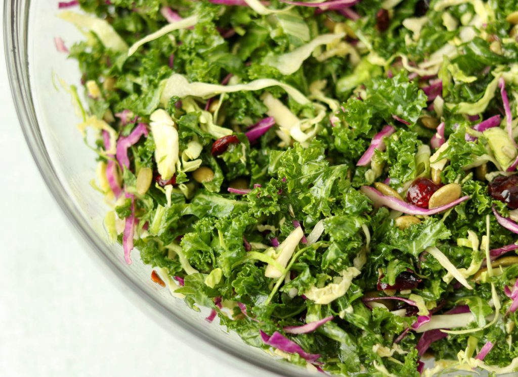 Dressing added to salad.