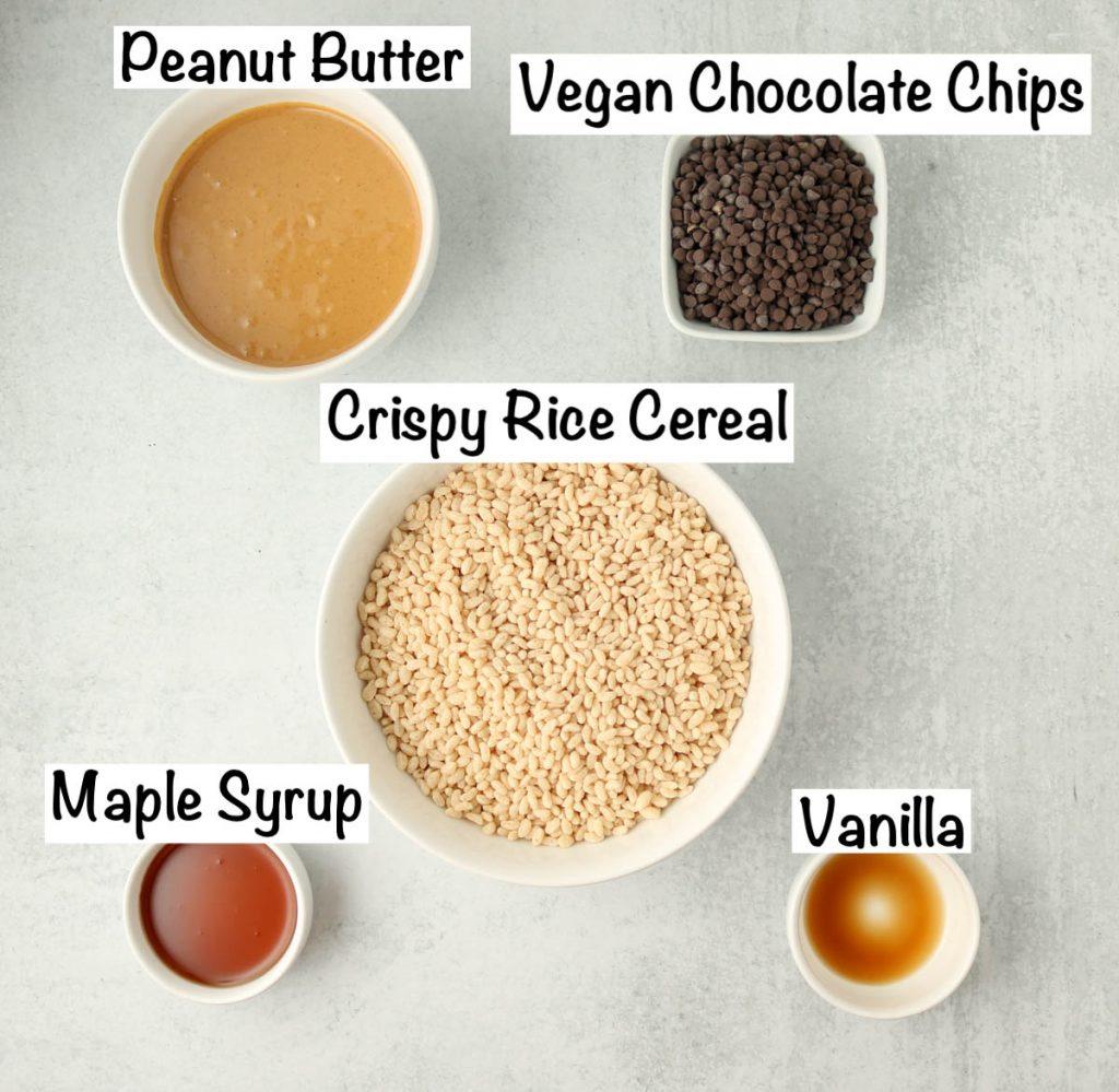 Labeled ingredients for vegan rice crispy treats.