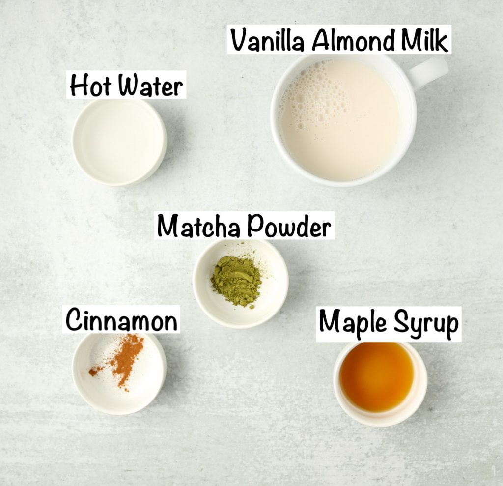 Labeled ingredients for matcha latte with almond milk.