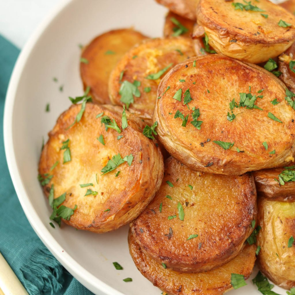 Close up, finished potatoes in a bowl.
