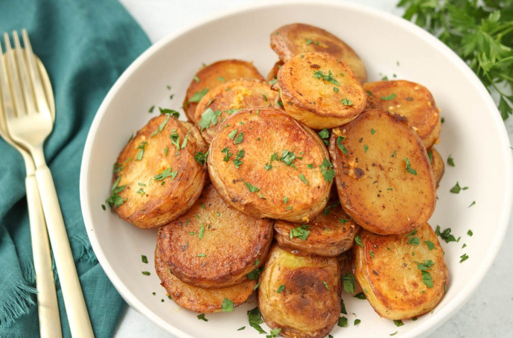 Finished potatoes in a bowl.